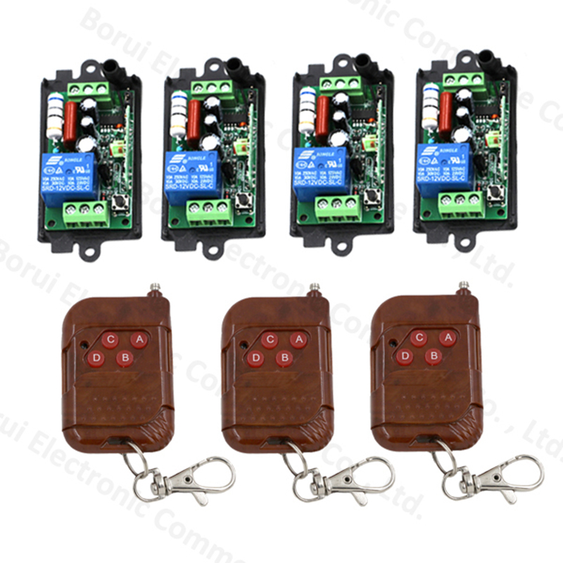 AC 220V 110V 1CH remote control switch wireless remote switch system Receiver Transmitter 315MHZ ac 220 v 1 ch wireless remote control switch system 4x transmitter with 2 buttons 1 x receiver light lamp ledon off 315 433mhz