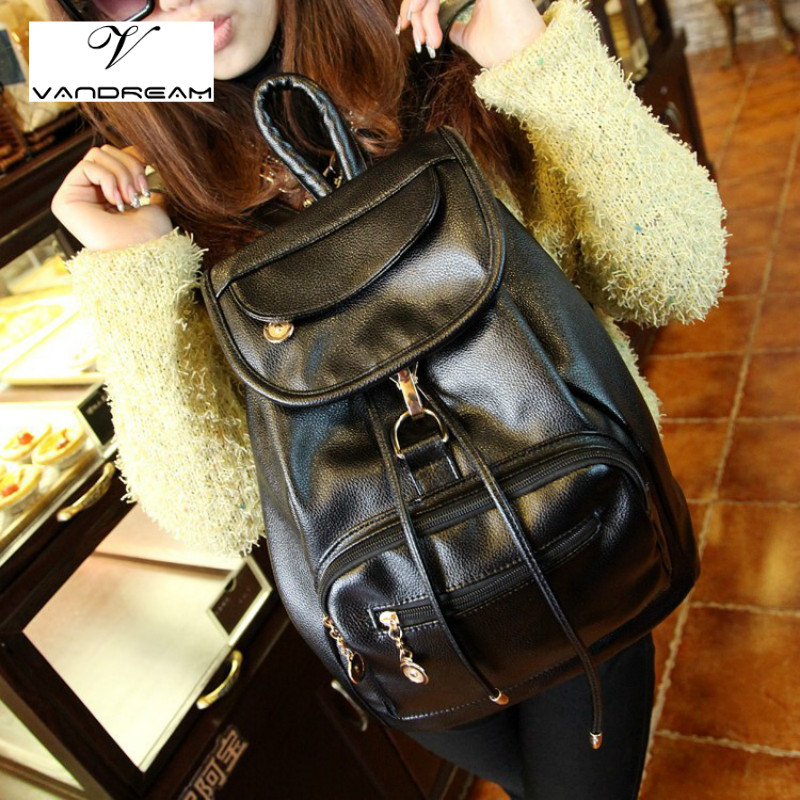 Fashion Large Women Backpack High Quality Youth Leather for Teenage Girls Female School Brand Solid Black Shoulder Bag Daypack annmouler women fashion backpack pu leather shoulder bag 7 colors casual daypack high quality solid color school bag for girls