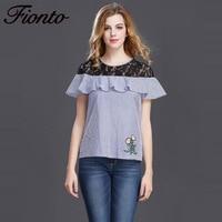 FIONTO 1 Pcs Casual Women Cotton Lace Stitching T Shirt Lady Short Sleeve Tops Shirt Plus