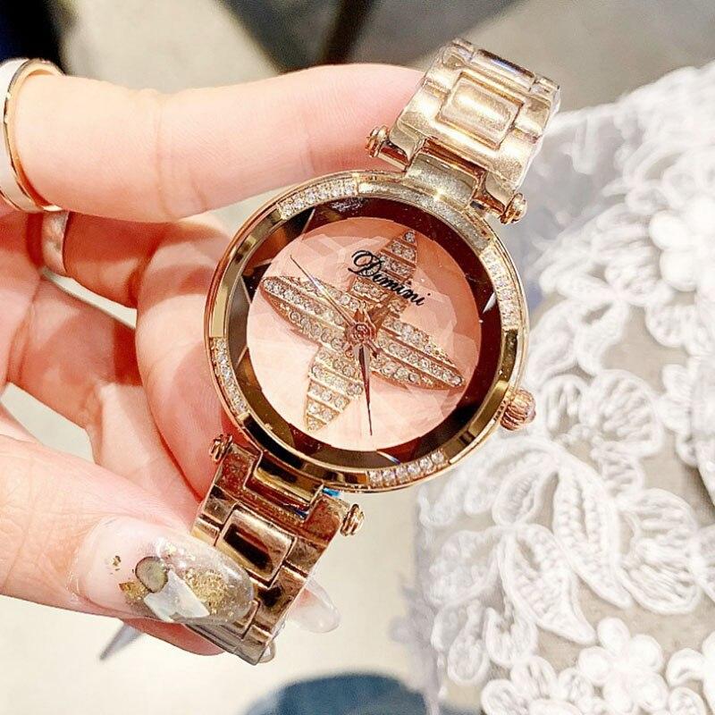 Montre de luxe pour femmes en diamant montre trèfle en or Rose pour femmes montres à Quartz pour femmes livraison directe de cadeau de montre chanceuse pour femme