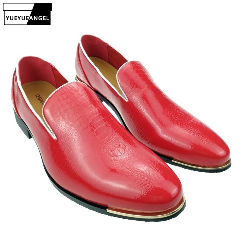 Mens Oxfords Loafers suknelė Oficialus vestuvių verslo slydimas ant PU odos Nauji batai Pointy Toe žmogui vairavimo bateliai juoda balta raudona