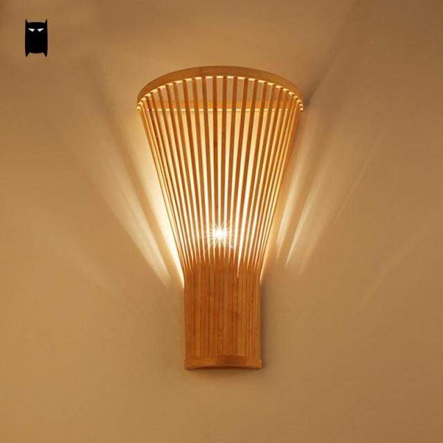 Bambou Osier Rotin Ventilateur Abat Jour Applique Luminaire Style