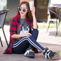 Autumn legging women's sports casual skinny pants slim trousers vertical stripe thin Leggings for women 2015 new JX257