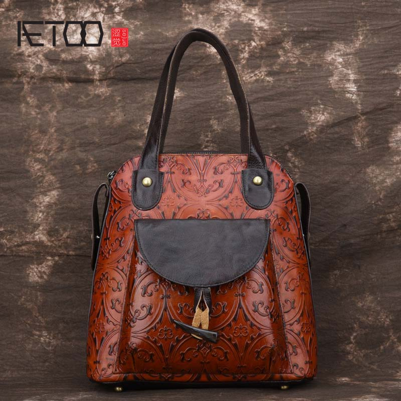AETOO Korean version of the new retro hand-rub leather embossed shoulder flower retro leather handbags women