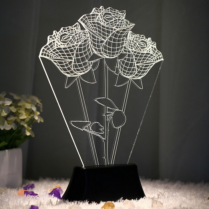 USB 3D LED Table Lamp Night Lights room Night Light Christmas Gift NEW Rose