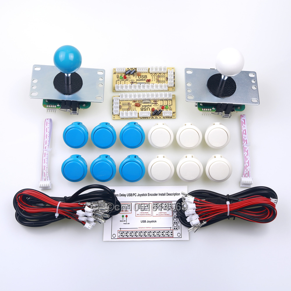 Arcade USB MAME Cabinet 12 x Sanwa Button + 2 x Arcade Sanwa Stick + PC Encoder For Marvel vs Street fighter Game - White + Blue usb mame