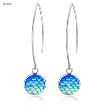 Wedding Jewelry Earrings Colorful Shiny Beauty Fish Scale Stainless Steel Drop Women Fashion Accessories