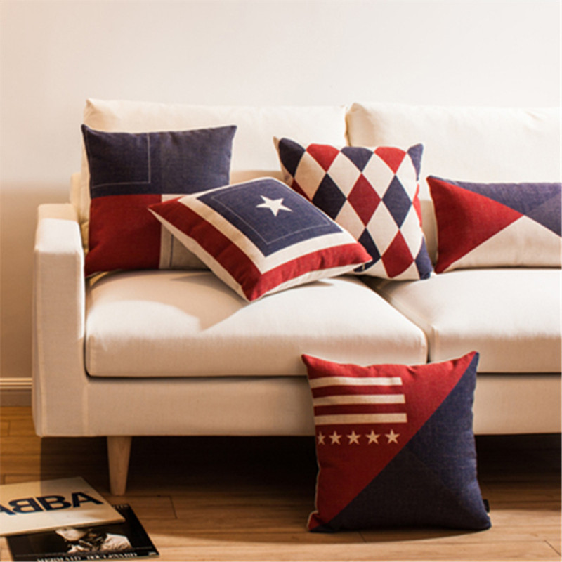 European Geometric squares argyle diamonds triangles star stripes question mark pattern Cushion Cover throw Decor pillow Case