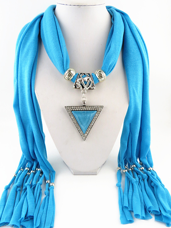 HONGHUACI Fashion New Design Ms. Tassel Jewelry Scarf Triangle Pendant Scarf Headscarf  Free  Shipping