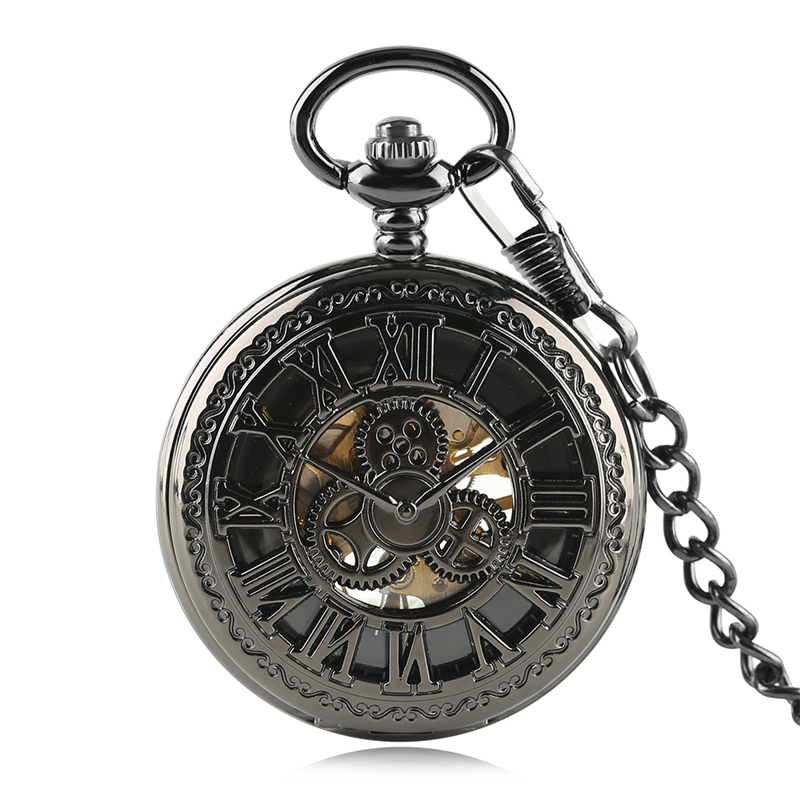 Steampunk Gear Wheel Mechanical Pocket Watches Men Vintage Black Skeleton Necklace Hand-winding Fob Watch With Chain For Women