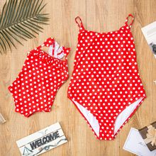 Купить с кэшбэком polka dot swimsuits mommy and me clothes family look mother daughter swimwear outfits mom girls beach dresses matching clothes
