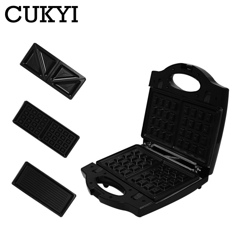 CUKYI multifunctional electric mini Waffle Sandwich Panini BBQ grilling machine 3 in 1 Breakfast maker for kitchen breakfast EU image