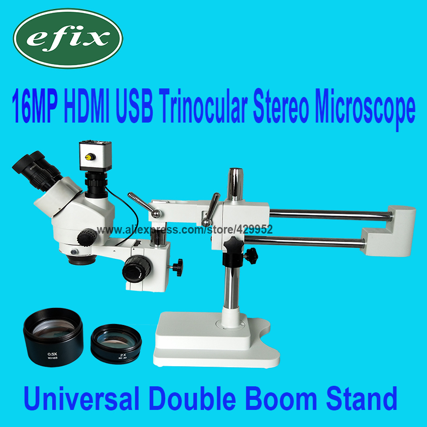16MP 3.5-90X Double Boom Stereo Zoom Trinocular Microscope Stand Lens HDMI USB Digital Camera for Repair Soldering Phone Tools