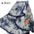 2017 maxi falda para las mujeres nuevas señoras de la llegada multicolor vintage tribal impresión floral atado de la cintura un line faldas falda de la playa