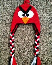 Крючком Свинья Шляпу, красный Angry birds Hat, Angry birds Аксессуаров, вязание крючком Животных Hat Теплая Шапка 100% хлопок Идеальный Рождественский Подарок