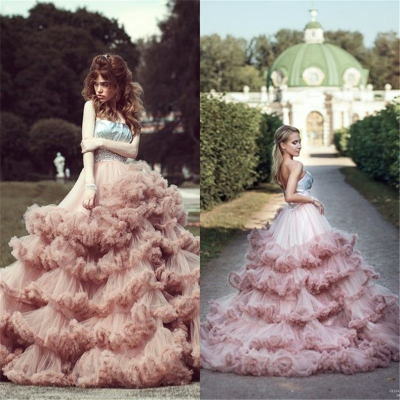 Country Western Ball Gown Blush Wedding Dress Cloud