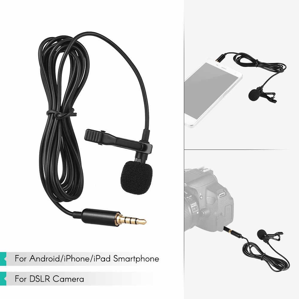Andoer 1.45m ミニポータブルマイクコンデンサークリップオンラペルマイク有線 mikrofo/microfon 電話のためのラップトップ