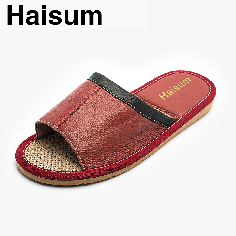 Ladies Slippers Summer genuine Leather Linen Woven Breathable Home Indoor Non-slip Slippers 2018 New Hot Haisum Tb007