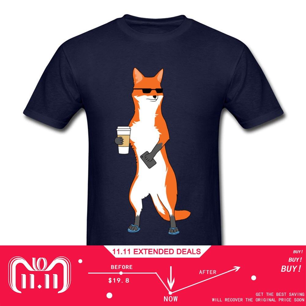 Bien Fox hombre Funky Slim Tops camisas cuello redondo verano Otoño de algodón camisetas Normal ropa de manga corta Camiseta