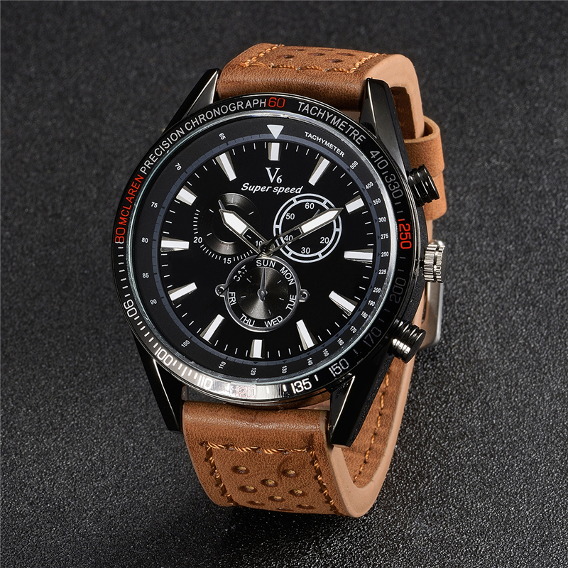 V6 Hot Famous Brand Men Watches Top Brand Luxury Business Quartz-watch Clock Leather Strap Male Wristwatch reloj hombre 2018 hot design leather strap watch elegant quartz wristwatch men women clock black