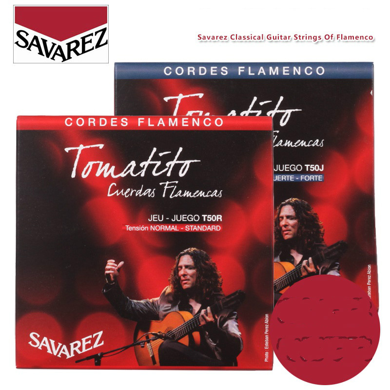 Savarez Tomatito Flamenco T50J T50R Nylon Classical Guitar Strings, High/Normal Tension savarez 510 cantiga series alliance cantiga ht classical guitar strings full set 510aj