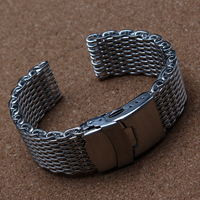 18mm 20mm 22mm 24mm Special mesh ends Watchbands Bracelet Silver Stainless Steel Straps with safety folding buckle for men hours