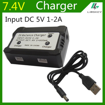 7.4V 600 mA Balance Charger For 2S Lipo battery For Syma X8C MJX X600 X101 RC Toys 7.4V balance Charger Plug Input DC 5V 1-2A