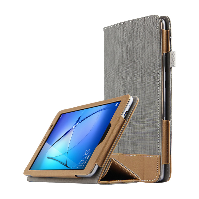 Canvas Case For Huawei Mediapad T3 8.0 KOB-L09 KOB-W09 Ultra Slim Folio Stand PU Leather Case Cover For Honor Play Pad 2 + Gift