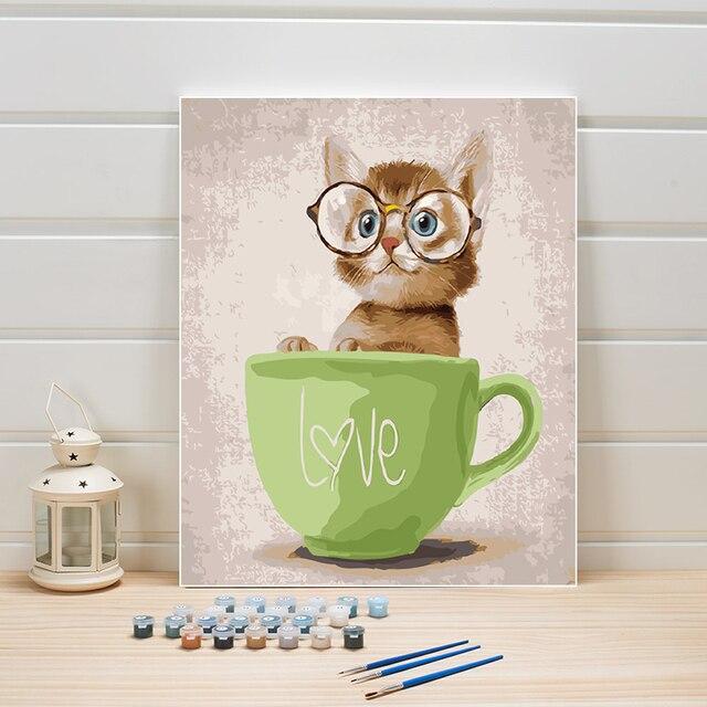 Hewan Kucing Diy Cat Oleh Nomor Di Dinding Kanvas Seni Digital