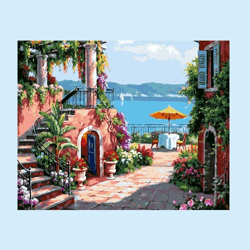 Seaside Villa Numbers Kit Diy Oil Painting Frameless
