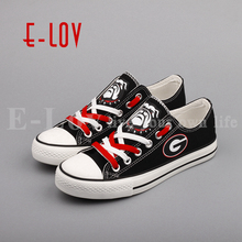E-LOV Georgia Bulldogs Fans Customization Print Shoes College Team Low Top Canvas Shoes Gift Big Size Drop Shipping