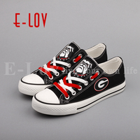 E LOV Georgia Bulldogs Fans Customization Print Shoes College Team Low Top Canvas Shoes Gift Big
