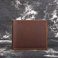Men's Crazy Horse Leather Wallet Shorter First Layer Cowhide Wallet Handmade Vintage Simple Wallet