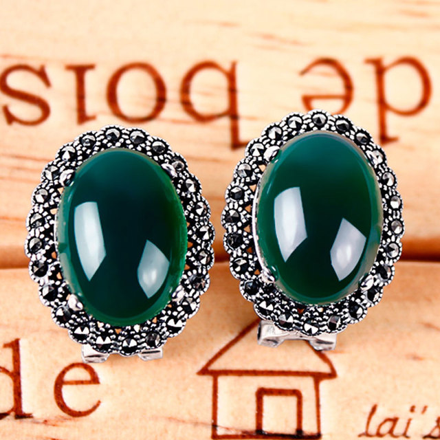 Green chalcedony thai silver agate earrings in ear vintage elegant earrings ear clip type stud earring national Women trend