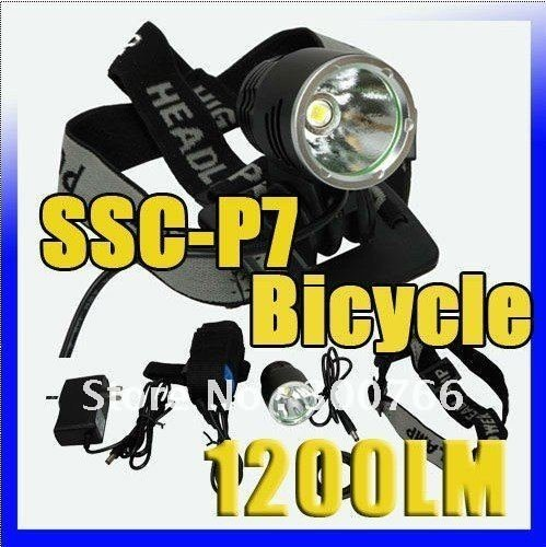 SSC-P7 Bicycle Light HeadLight 1200 Lumens 3 Mode Waterproof Bike Front Light LED HeadLamp+Charger