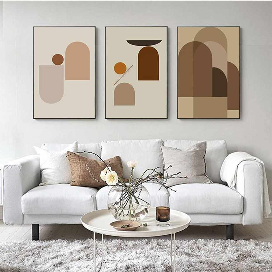 SURE LIFE Nordic Abstract Geometric Minimalist Canvas Printing Paintings Posters Wall Art Picture for Living Room Home Decor