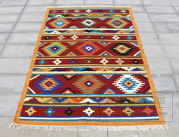 100% inde importé KILIM tissé à la main couleur laine tapis exotique national vent salon table basse tapis 72gc149yg4