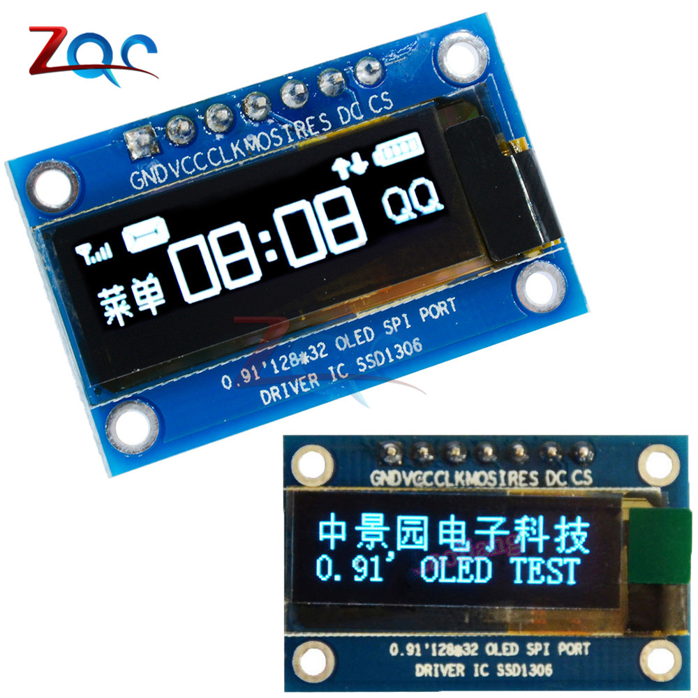 0.91 Inch SPI 128x32 White/Blue OLED LCD Display DIY Module SSD1306 Driver IC DC 3.3V-5V For Arduino PIC