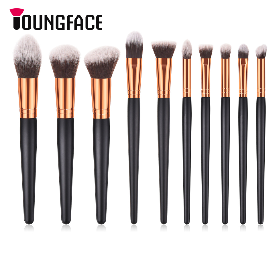 10pcs Black/Golden Makeup Brushes Set Professional Cosmetics Brush High Quality Foundation Powder Blushes Make up Brushes Tools jessup 5pcs black gold makeup brushes sets high quality beauty kits kabuki foundation powder blush make up brush cosmetics tool