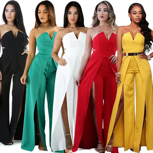 TEXIWAS 2018 Hollow Long Bodysuit Fashion Women  zipper Slim split the fork Jumpsuit Elegant Wrap the chest Wide leg Jumpsuit