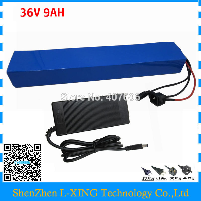 Free customs fee 36V 9AH lithium battery 36V9AH ebike battery with PVC Case use samsung 3000mah cell 15A BMS with 2A Charger free customs tax 36v 500w ebike lithium battery 36v 15ah electric bike down tube bottle battery with charger for samsung cell