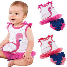 Toddler Kids Baby Girls Outfits Clothes Sleeveless Goose Print T-shirt Tops+Dot Tutu Skirt Dress 2PCS Sets