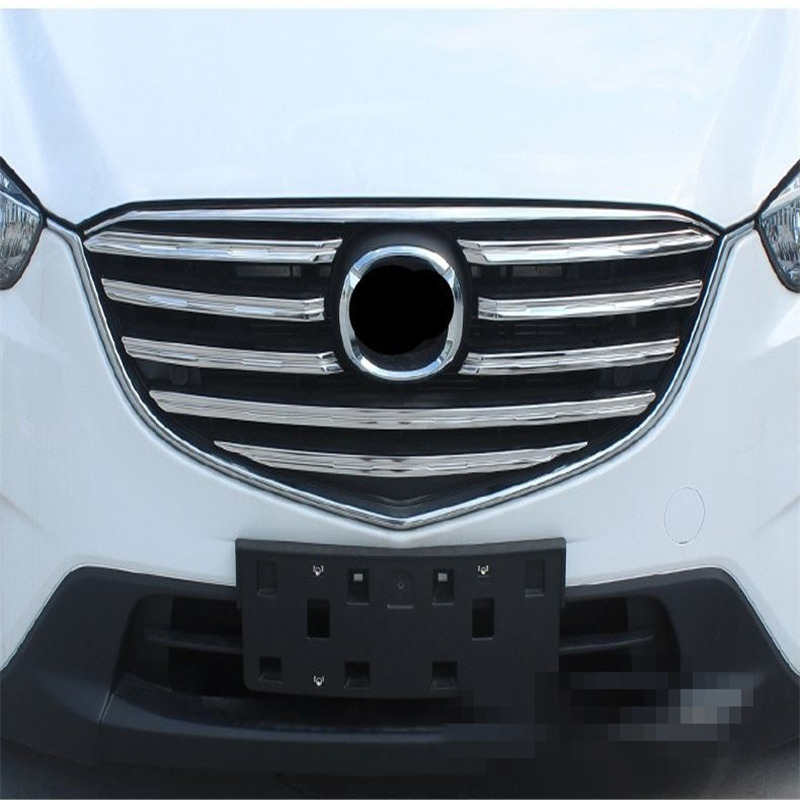 For Mazda CX-5 2015 2016 2017 ABS chrome front head grille racing grill hood accessories trim 9pcs/set auto sedan cover styling chrome front hood grill cover trim for 2014 2015 mazda 6 atenza
