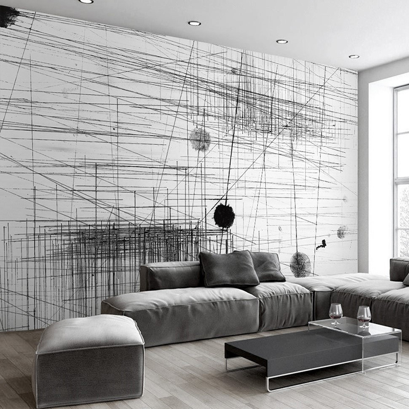 Custom Mural Wallpaper Black White Stripes Lines Abstract Art Wall Painting Living Room Sofa TV Backdrop 3D Photo Wall Paper