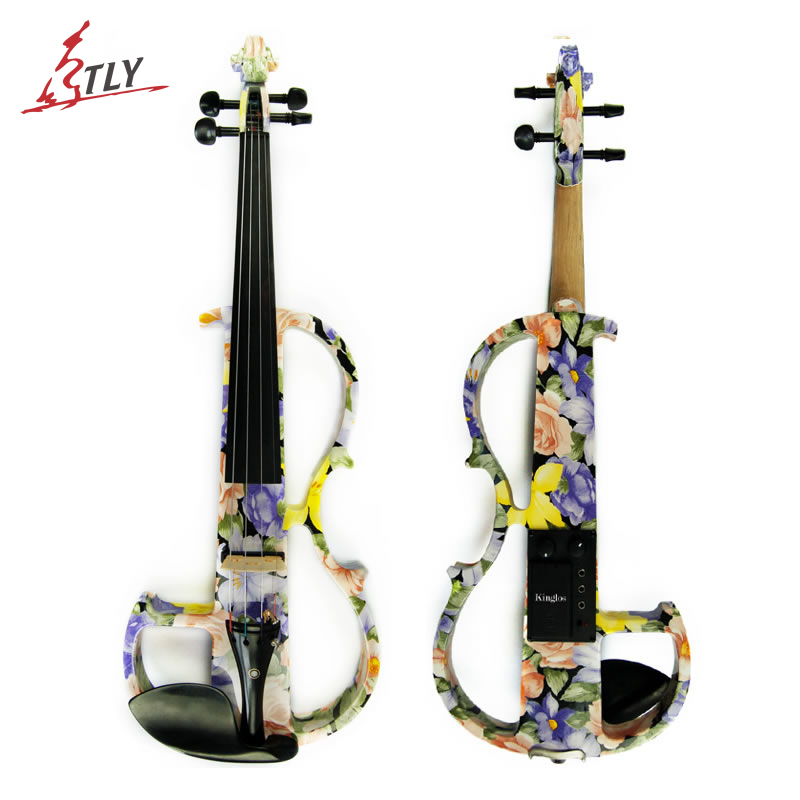 Kinglos Advanced Electric Art Violin Colored Flowers Painted Solid