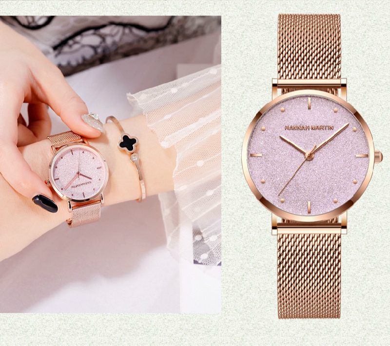Hannah Martin Women Watch Shinning Starry Sky Rose Gold Stainless Steel Ladies Luxury Quartz Wristwatches Clock Relogio Feminino