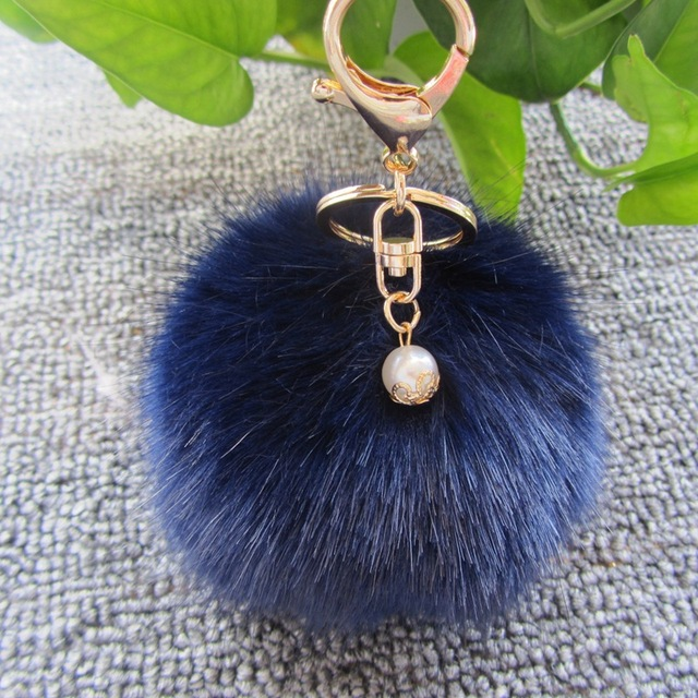 Moda 8 cm bulbo piloso llavero bolsa colgante accesorios del coche de simulación de pelo de conejo bulbo piloso llavero de oro