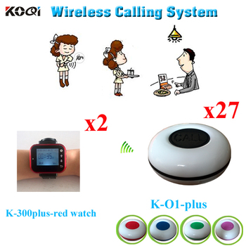 Wireless Call Bell System For Banks, Dining Hall, Coffee Bar, Bar, Teahouse(2pcs Watch Receiver +27pcs Call Button)