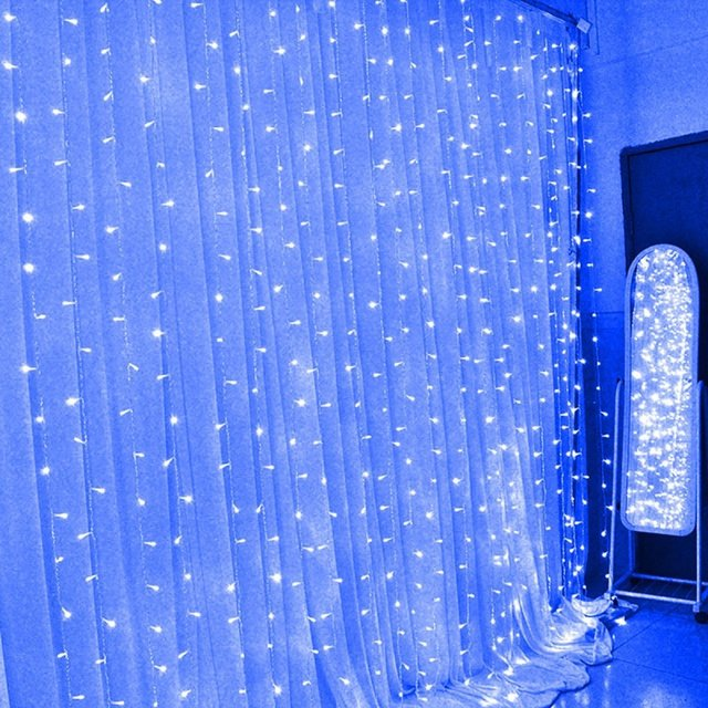 3m Led Window Lights Outdoor Curtain String Fairy Lamp Christmas Xmas Party Home Festival Background Wall Decoration Lighting