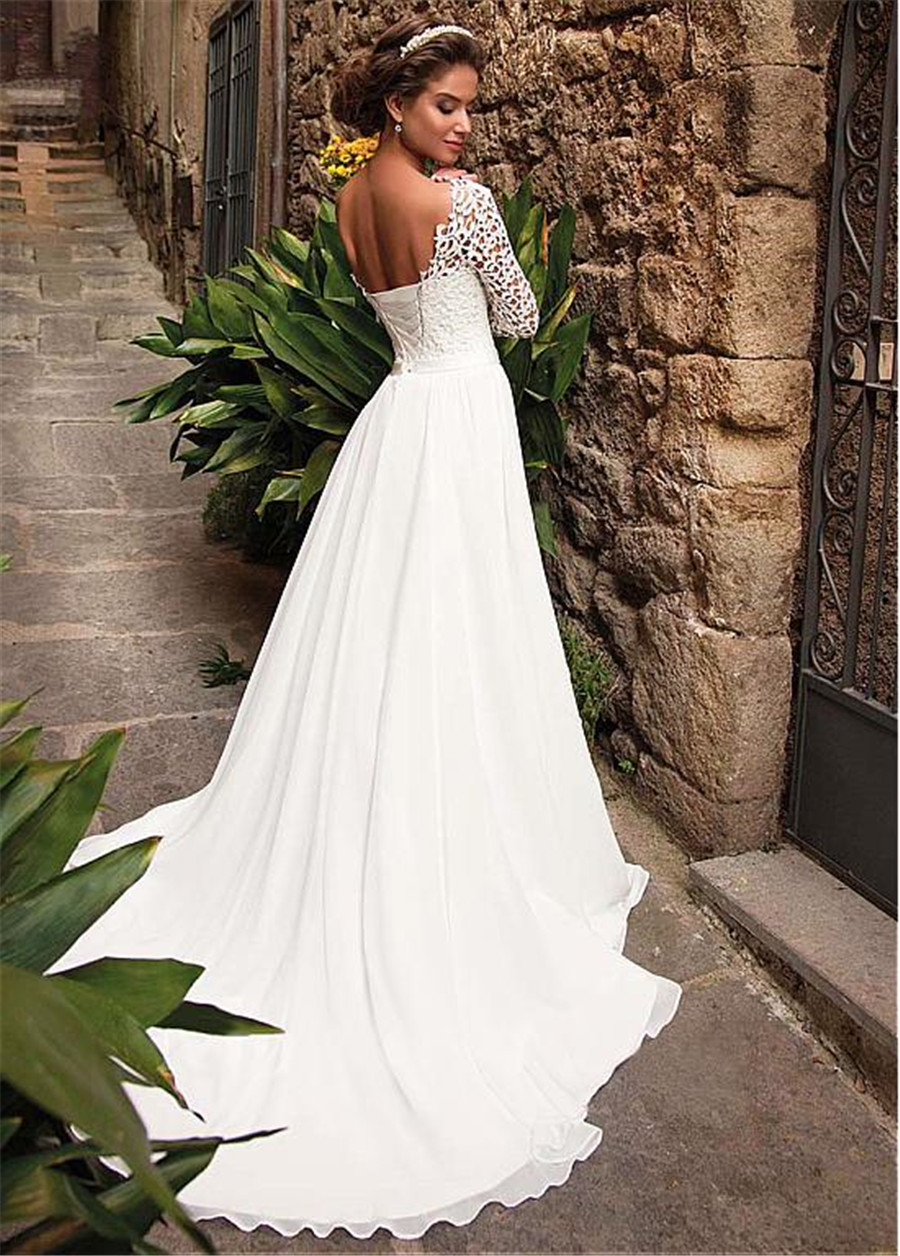 Image 3 - Elegant Lace & Chiffon Bateau Neckline A Line Wedding Dress With Belt Long Sleeves Open Back Bridal Dress women-in Wedding Dresses from Weddings & Events